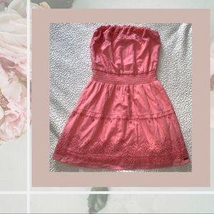 XS Hollister Coral Strapless Mini Dress
